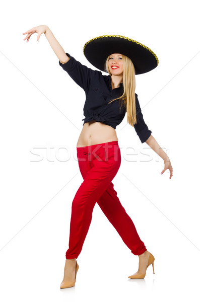 Engraçado mexicano sombrero seis feliz feminino Foto stock © Elnur