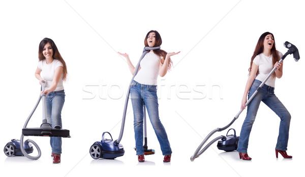 Foto stock: Colagem · mulher · limpeza · aspirador · de · pó · casa · menina