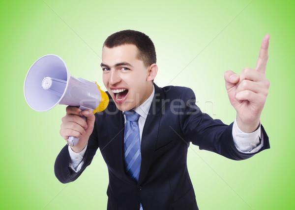 Homme haut-parleur isolé homme blanc blanche affaires Photo stock © Elnur