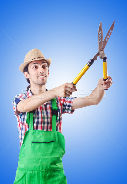 Man gardener with shears on white Stock photo © Elnur
