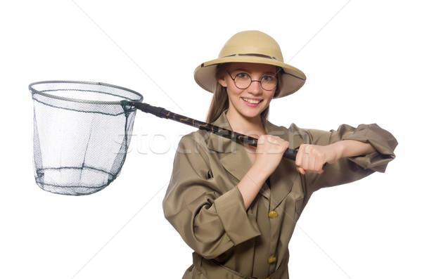 Kadın safari şapka beyaz arka plan Stok fotoğraf © Elnur