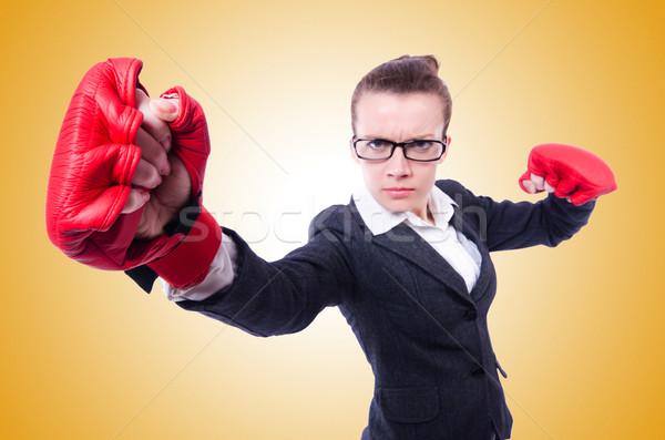 Nő boxkesztyűk fehér üzlet iroda munka Stock fotó © Elnur