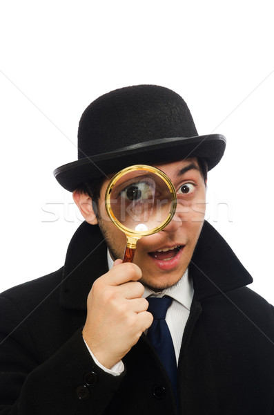 Sherlock Holmes with magnifying glass isolated on white Stock photo © Elnur
