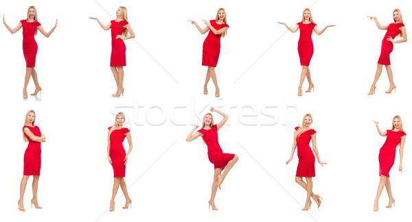 Kadın kırmızı elbise yalıtılmış beyaz kız seksi Stok fotoğraf © Elnur