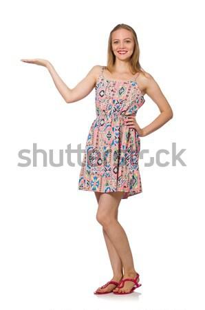 Kaukasisch meisje zomer licht jurk geïsoleerd Stockfoto © Elnur