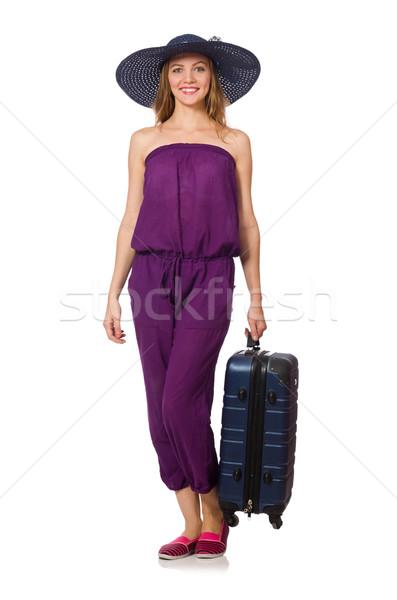 ストックフォト: 女性 · スーツケース · 孤立した · 白 · 少女 · 幸せ