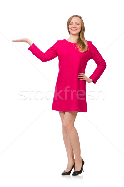Pretty girl in pink dress isolated on white Stock photo © Elnur