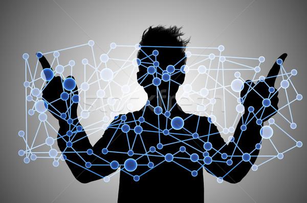 üzletember kapcsolódik kommunikáció üzlet kéz technológia Stock fotó © Elnur
