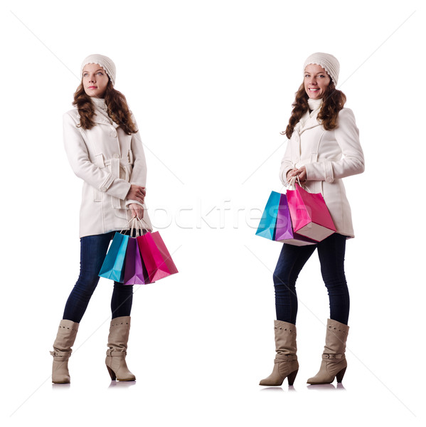 Woman in winter clothing doing christmas shopping Stock photo © Elnur