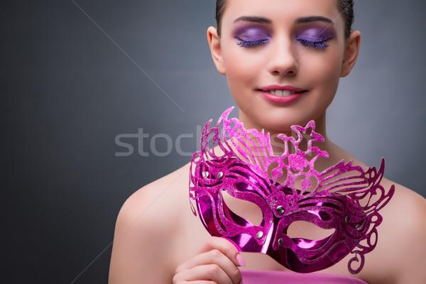 Jonge vrouw carnaval masker achtergrond kunst theater Stockfoto © Elnur