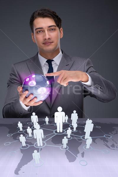 Imprenditore business tecnologia contatto rete Foto d'archivio © Elnur