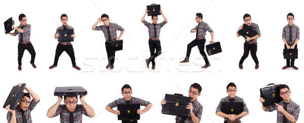 Young employee with briefcase isolated on white Stock photo © Elnur