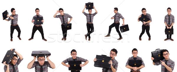 Jonge werknemer aktetas geïsoleerd witte kantoor Stockfoto © Elnur