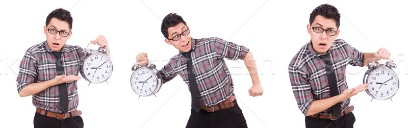 The young man with clock isolated on white Stock photo © Elnur