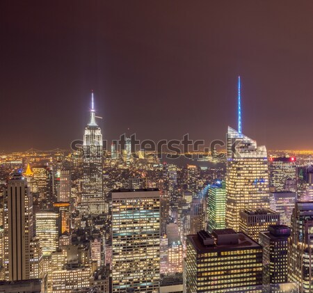 The view of new york manhattan during sunset hours Stock photo © Elnur