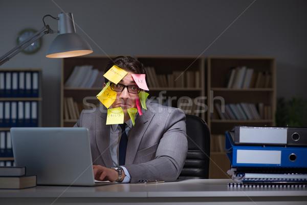 Biznesmen późno na zewnątrz pracy notebooka pracy Zdjęcia stock © Elnur