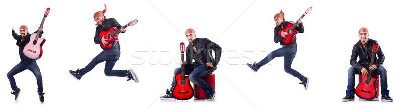 Gitáros izolált fehér zene buli háttér Stock fotó © Elnur