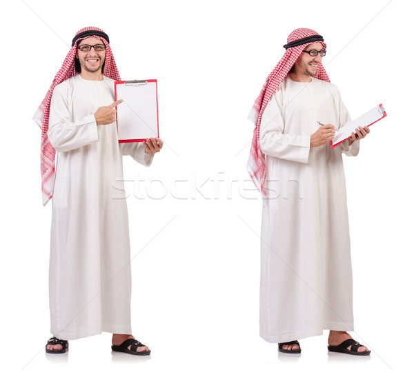 The arab man with binder isolated on white Stock photo © Elnur