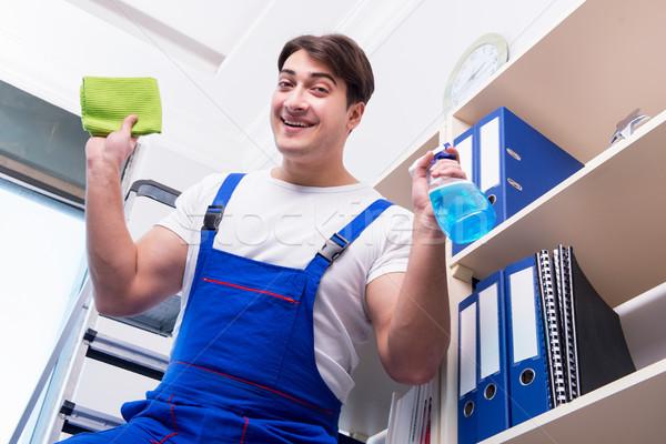мужчины служба чистого очистки Полки дома Сток-фото © Elnur