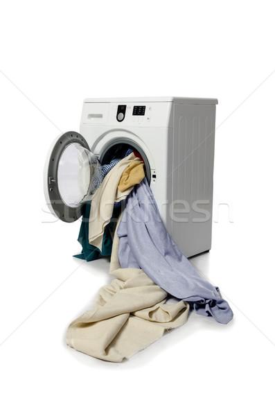 Machine à laver isolé blanche technologie fond métal Photo stock © Elnur
