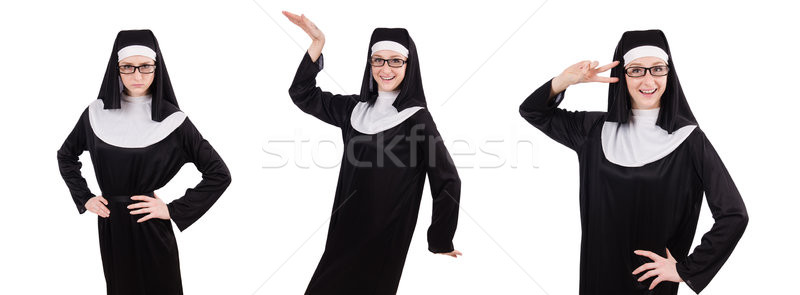 Young serious nun isolated on white Stock photo © Elnur