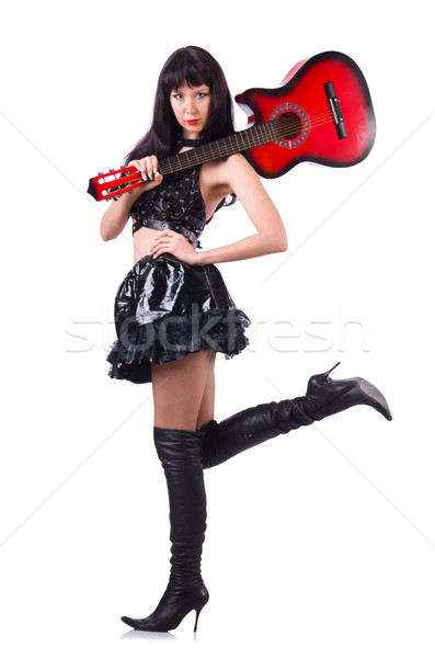 Young singer in leather costume with guitar Stock photo © Elnur