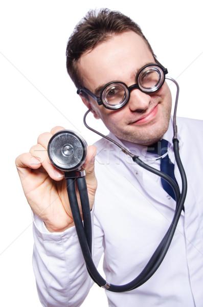 Komik doktor yalıtılmış beyaz hastane tıp Stok fotoğraf © Elnur