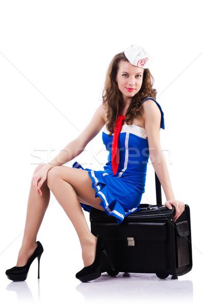 Kadın denizci bavul beyaz gülümseme moda Stok fotoğraf © Elnur