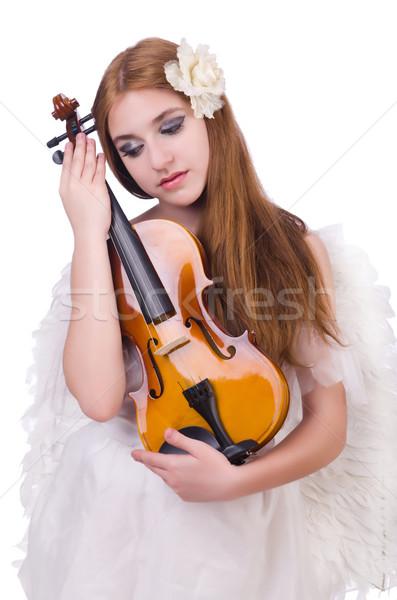 小さな バイオリン プレーヤー 孤立した 白 女性 ストックフォト © Elnur