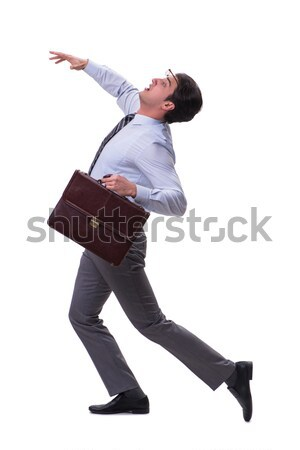 Stock fotó: Meztelen · üzletember · aktatáska · fehér · arc · boldog