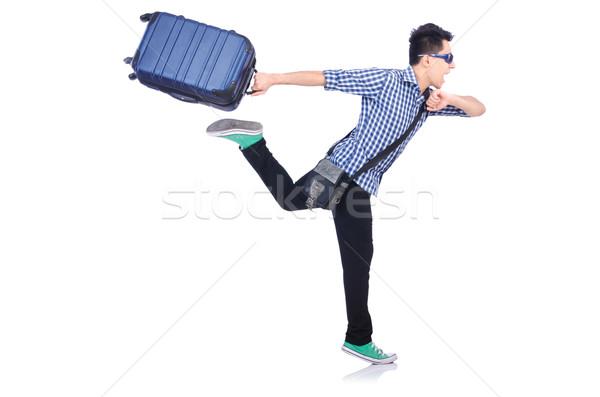 Jovem cara viajar caso branco fundo Foto stock © Elnur