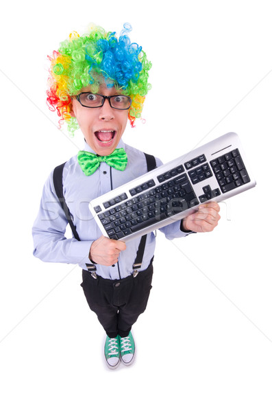 Komik adam palyaço peruk beyaz parti Stok fotoğraf © Elnur