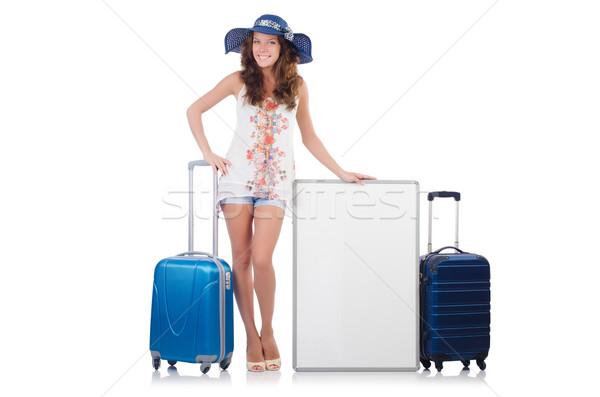 Vrouw Panama vakantie koffer boord geïsoleerd Stockfoto © Elnur