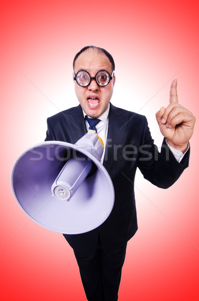 Funny man with loudspeaker on white Stock photo © Elnur