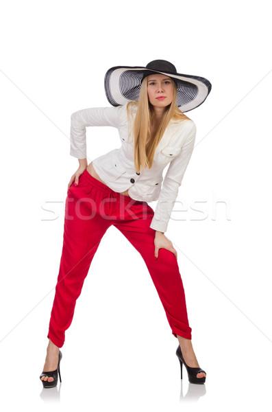 Jonge vrouw mode model zomer pak witte Stockfoto © Elnur
