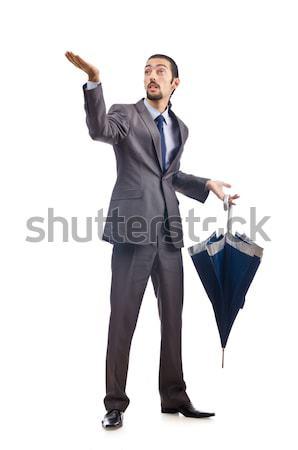 Businessman with sword on white Stock photo © Elnur