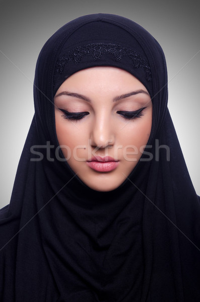 Muslim young woman wearing hijab on white Stock photo © Elnur