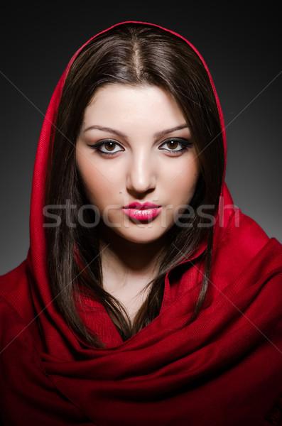 Portret jonge vrouw hoofddoek vrouw gelukkig mode Stockfoto © Elnur