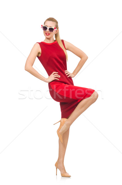 Pretty young woman in red dress isolated on white Stock photo © Elnur