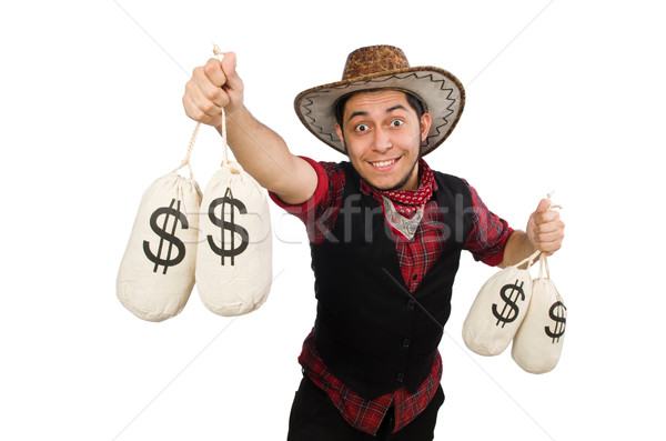 Young cowboy with money bags isolated on white Stock photo © Elnur