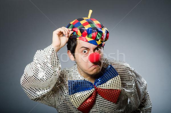 Stockfoto: Grappig · clown · donkere · glimlach · gelukkig · verjaardag