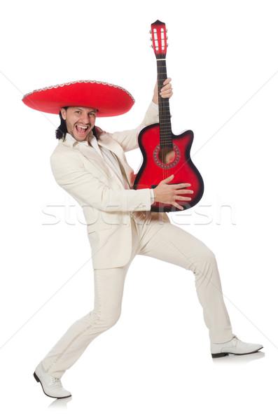 Mexicaanse gitarist geïsoleerd witte partij achtergrond Stockfoto © Elnur