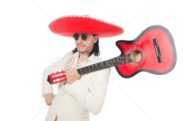 Stock fotó: Mexikói · gitáros · izolált · fehér · buli · háttér