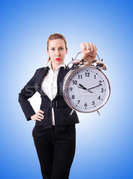 Donna imprenditrice gigante clock ufficio lavoro Foto d'archivio © Elnur