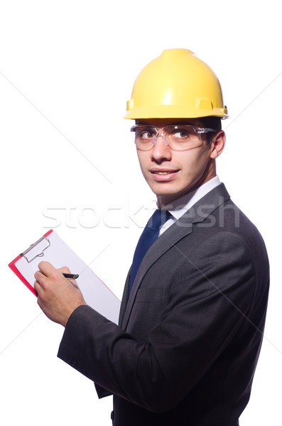 Man wearing hard hat isolated on white Stock photo © Elnur