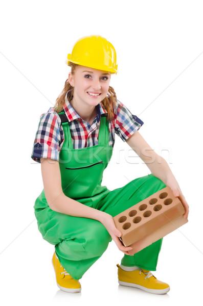 Woman with bricks isolated on white Stock photo © Elnur