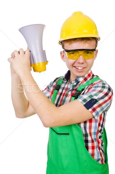 Drôle travailleur de la construction haut-parleur blanche bâtiment maison Photo stock © Elnur
