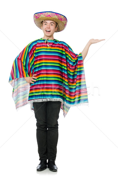 Funny young mexican with false moustache isolated on white Stock photo © Elnur