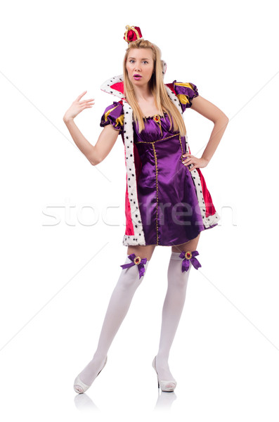 Stock photo: Cute girl in purple masquerade dress and crown isolated on white