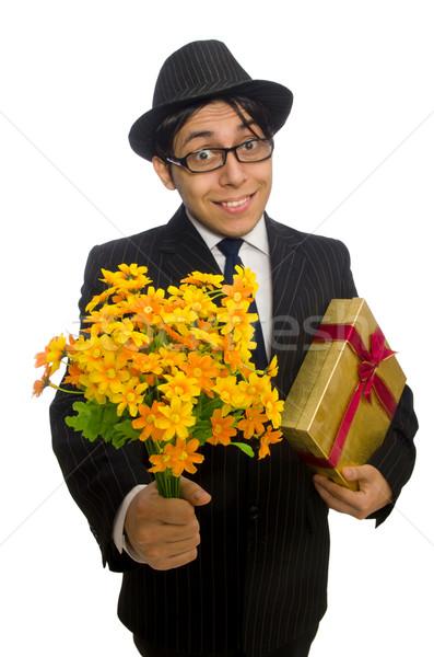 Beyefendi hediye kutusu çiçekler yalıtılmış beyaz iş Stok fotoğraf © Elnur